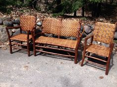 Old Hickory 3 PC set. Bow back settee and 2 arm chairs. Made by State Farm Industries (Prison). Mint untouched condition: Christibys SOLD