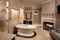 Fireplace in the bathroom?!?!  YES PLEASE!