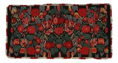ÅKDYNA - TORNA HÄRAD. Flamskvävnad, så kallad blomstermosaik, omkring år 1800, 48x97 cm.