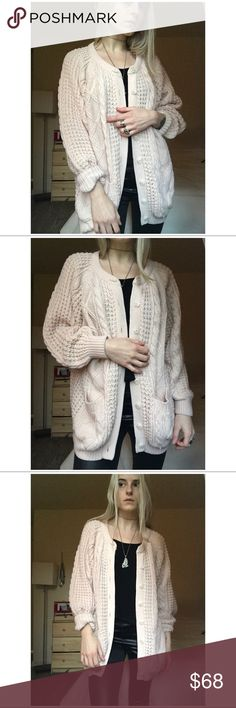 """80s VTG Baby Pink Cable Knit Oversized Sweater -> 100% acrylic  -> Slouchy- has a nice weight to it  -> Tagged as size medium, flattering on a range of sizes ( this is being modeled oversized)  -> Has some light pilling, nothing of major note (please ask for close ups if needed)  -> Feels very high quality  -> The color is so lovely- a very light baby pink  -> Model is 5' 5"""" and generally wears XS in tops and bottoms    MEASUREMENTS   BUST- 50""""  LENGTH- 28""""  #1990s #grunge #slouchy #pastel…"""