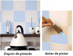 Renovando azulejo com pintura - Cozinha com pintura de azulejo na cor branco e azul clarinho