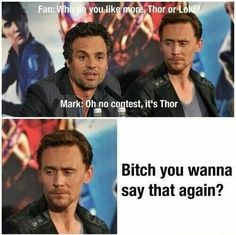 "Excuse me bitch? EXCUSE ME? hulk looks over at loki and realizes what he said.""oh, i mean loki.definitly loki""{{{ excuse the bad language Avengers Humor, Marvel Jokes, Funny Marvel Memes, Dc Memes, Loki Meme, Avengers Quiz, Loki Funny, Avengers Actors, Loki Marvel"