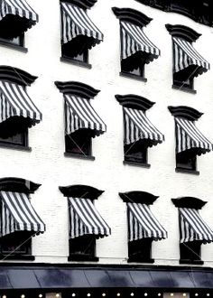 Black and white striped awnings