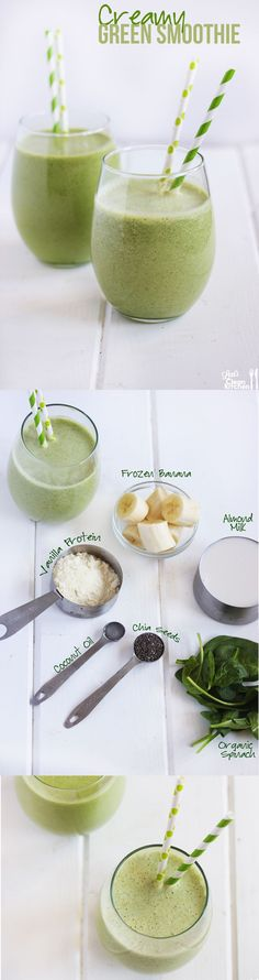 Healthy Smoothies Creamy Green Protein Smoothie: Healthy, gluten-free, dairy-free, and paleo-friendly - Smoothie Vert, Juice Smoothie, Smoothie Drinks, Smoothie Recipes, Vegan Smoothies, Breakfast Smoothies, Fruit Smoothies, Pineapple Smoothies, Diabetic Smoothies