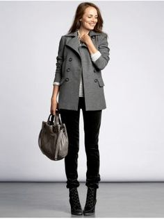 winter looks with grey pea coat  | banana republic wool blend pea coat the wool blend pea