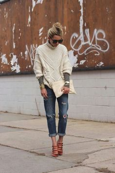 chunky sweater and boyfriend jeans