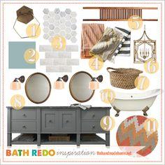 bathroom inspiration - grey vanity, bronze mirrors, white Carrera tile