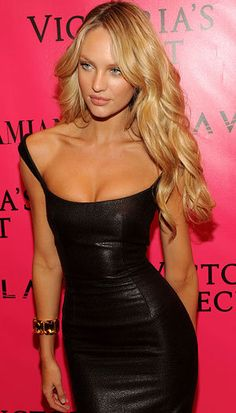 Candice Swanepoel, leather dress
