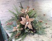 Natural Pine Centerpiece,Burlap poinsettia centerpiece, Christmas table piece,Christmas Natural arrangement,Natural Pine Garland centerpiece