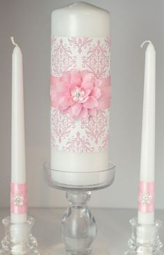Pink and White Damask Wedding Unity Candle Set with Rhinestone Embellishments. $39.00, via Etsy.