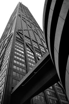 Built in 1968 the John Hancock Tower was the tallest building in the World outside of New York. As of, today the Hancock Tower is the tallest in Chicago Chicago River, Chicago City, Chicago Skyline, Chicago Illinois, Chicago Bears, John Hancock Tower, Stair Climbing, Visit Chicago, Chicago Photography