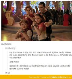 This person is me, I am this person. But interchange Spy Kids for any number of fandoms. Funny Quotes, Funny Memes, Hilarious, Jokes, Good Movie Quotes, Stupid Memes, Camilla, Nickelodeon, Lol