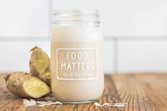 Anti-inflammatory Ginger Smoothie - 1 frozen banana, 1 inch ginger, grated, ½ tsp cinnamon, 1 cup coconut milk.  Blend all ingredients together & serve in our funky Food Matters Jar!  Ginger highly regarded for its therapeutic medicinal properties in healing nausea symptoms, digestive issues and gastrointestinal distress. It naturally contains anti-inflammatory compounds, and can also inhibit the growth of particular cancer cells! ‪#foodmatters‬ ‪#ginger‬ #foodfacts‬