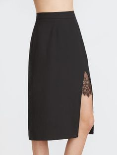 Black Lace Insert Split Front Midi Skirt