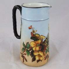 Charles Haviland & Co., Limoges Hand Painted Floral Butterfly Pitcher  #HavilandCo