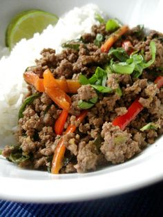 Thai Beef with Chiles and Basil Over CoconutRice
