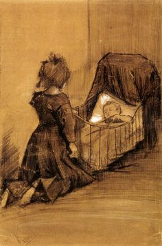 Vincent van Gogh - Girl kneeling by a cradle - 1883.                                                                                                                                                                                 More