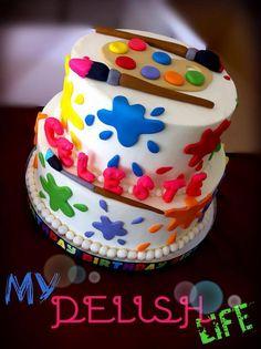 Artist Cake on Cake Central Art Birthday Cake, Artist Birthday, 8th Birthday, Birthday Ideas, Art Party Cakes, Cake Art, Art Cakes, Artist Cake, Painted Cakes