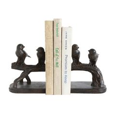 Creative Co-Op Secret Garden Resin Bird on Branch Bookends