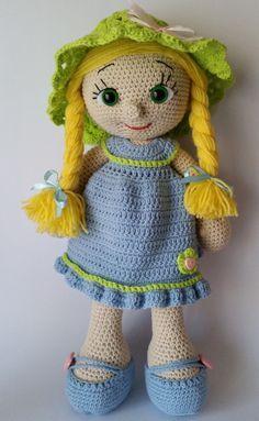 Crochet, muñeca, muñeca amigurumi, ganchillo muñeca de juguete, muñeca hecha a mano, juguete de amigurumi, muñeca, decoración de la habitación de las niñas, muñeca ganchillo grande, muñeca de trapo  Esta muñeca amigurumi de linda chica viene con un sombrero verde. Por favor especifique si desea que cualquier otro sombrero de color.  Ella es de aproximadamente 16 pulgadas (40cm) y hecho de oro de algodón de Alize que es una mezcla de 55% algodón y 45% acrílico. Esto hace que este muñeco de…