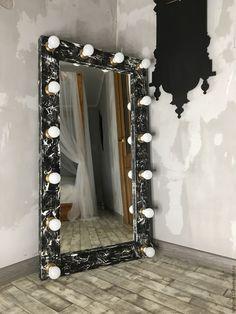 Купить Гримерное зеркало LOFT STORY.130/70 - чёрно-белый, застаренное зеркало, дизайнерское зеркало