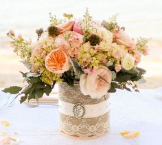 Burlap, Lace, and Brooch Vintage Inspired Wedding Vases