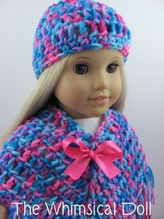 Crocheted Poncho, Hat, and Handbag for American Girl