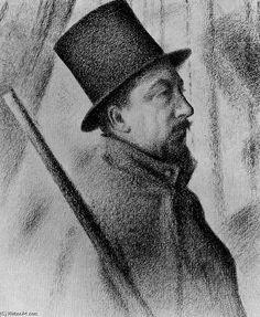 """""""シニャックの肖像"""", オイル バイ Georges-Pierre Seurat (1859-1891, France)"""