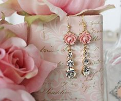 Rose and Lemons Blush Rose Sparkle Earrings, Swarovski Crystal, etsy, $25.00