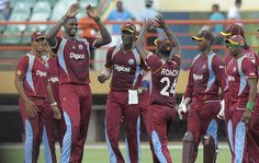 West Indies v Pakistan 1st ODI: Jason Holder celebrates the fall of an early Pakistan, of which he took 4, with his West Indies teammates.