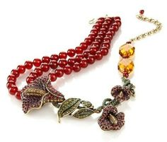 "Heidi Daus ""Captivating Calla Lily"" 3-Row Carnelian Beaded Necklace"