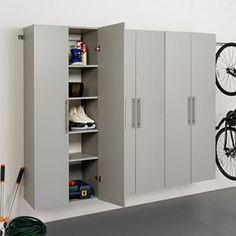 "Prepac HangUps E 108"" Storage Cabinet 3-piece Set | Kohls Garage Storage Solutions, Diy Garage Storage, Locker Storage, Garage Organization, Organization Ideas, Wall Storage, Armoire Garage, Garage Cabinets, Diy Cabinets"