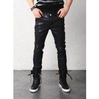 Mens Hard Coated Slim Black Jeans