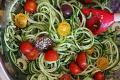 Connection Recipe: Raw Spiralized Zucchini Noodles with Tomatoes and Pesto
