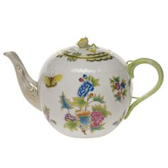 Herend China Queen Victoria Pink Tea Pot With Rose Porcelain Ceramics, China Porcelain, Porcelain Dinnerware, Painted Porcelain, Herend China, Chocolate Pots, Green Pattern, China Patterns, Queen Victoria