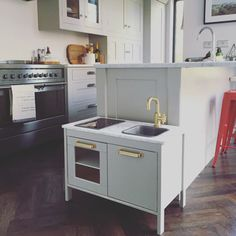 Big Kitchen // Little Kitchen; IKEA Duktig hack - Farrow and Ball Dove Tail, Marble countertops, Gold taps.
