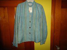 NWT Ladies Coldwater Creek L/S Button Down Light Weight Blazer/Jacket.  Medium #ColdwaterCreek #BasicJacket