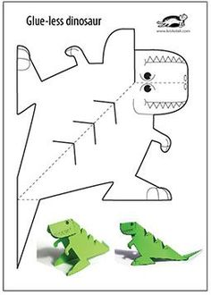 Glue-Lee printable dinosaur - Kinder Basteln - crafts home Dinosaurs Preschool, Dinosaur Activities, Preschool Crafts, Preschool Activities, Crafts For Kids, Arts And Crafts, Children Crafts, Children Activities, Dinosaur Crafts Kids