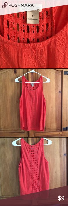 Lucky brand tank top Super cute, lightweight tank. Color is a beautiful coral! Has a cutout design down the center of back. Would be perfect with a contrasting or matching bralette. Lucky Brand Tops Tank Tops