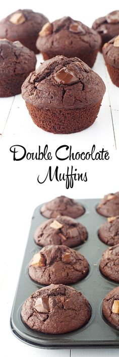 Perfect high top homemade double chocolate muffins - better than storebought!