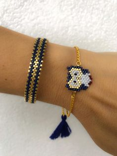 Miyuki beaded blue owl bracelet set unique stylish chic bracelet for women . - Miyuki beaded blue owl bracelet set unique stylish chic bracelet for women girls - Bead Loom Patterns, Beaded Jewelry Patterns, Bracelet Patterns, Beading Patterns, Beading Ideas, Knitting Patterns, Crochet Patterns, Owl Bracelet, Seed Bead Bracelets