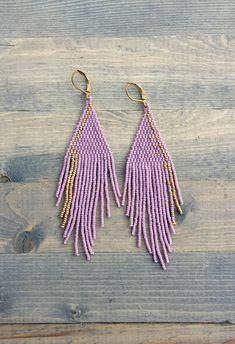 2e2fec9988ddd1 Lavender Fringe Earrings Diy Tassel Earrings, Fringe Earrings, Seed Bead  Earrings, Seed Bead