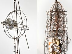 """EMERY BLAGDON - Artist - One Art World """"Using baling wire, string, masking tape, wood, glass, sheet metal, aluminum foil, wax paper and many other materials, he constructed snarly, extraordinarily complicated structures. They resemble mobiles, chandeliers, television antennas and electrical generators. He arranged them, along with his vibrantly colored abstract paintings, in an indoor environment that he believed would generate curative electromagnetic energy."""
