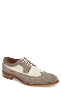 Mens Johnston  Murphy Conard Longwing Spectator Shoe Size 9.5 M - Grey $155.00 AT vintagedancer.com