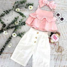 Baby Girls Ruffle T-Shirt + Pants + Headband Outfit Set, , Baby Girl Fashion, Dresses Kids Girl, Little Girl Outfits, Kids Outfits Girls, Kids Girls, Baby Girls, Summer Girls, Summer Set, Pink Kids, Summer Baby