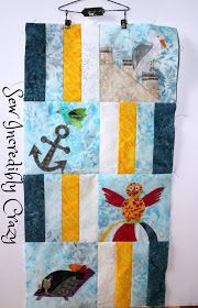 April Block of the Sun, Sand, and Sea BOM at Sew Incredibly Crazy.  April's block was designed by Carla of Creatin' in the Sticks