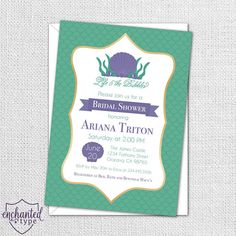 Little Mermaid Bridal Shower Invitation, perfect for a Disney Bride, by EnchantedType on Etsy