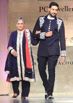 Jaya Bachchan and Abhishek Bachchan walk the ramp at Shabana Azmi's fashion show 'Mijwan'. #Bollywood #Fashion #Style #Beauty #Handsome