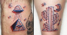 Tattoo artist Winston Whale creates kick-ass tattoos made from the two 3D colours, red and blue.
