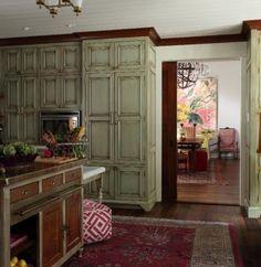 Distressed Sage Kitchen Cabinets